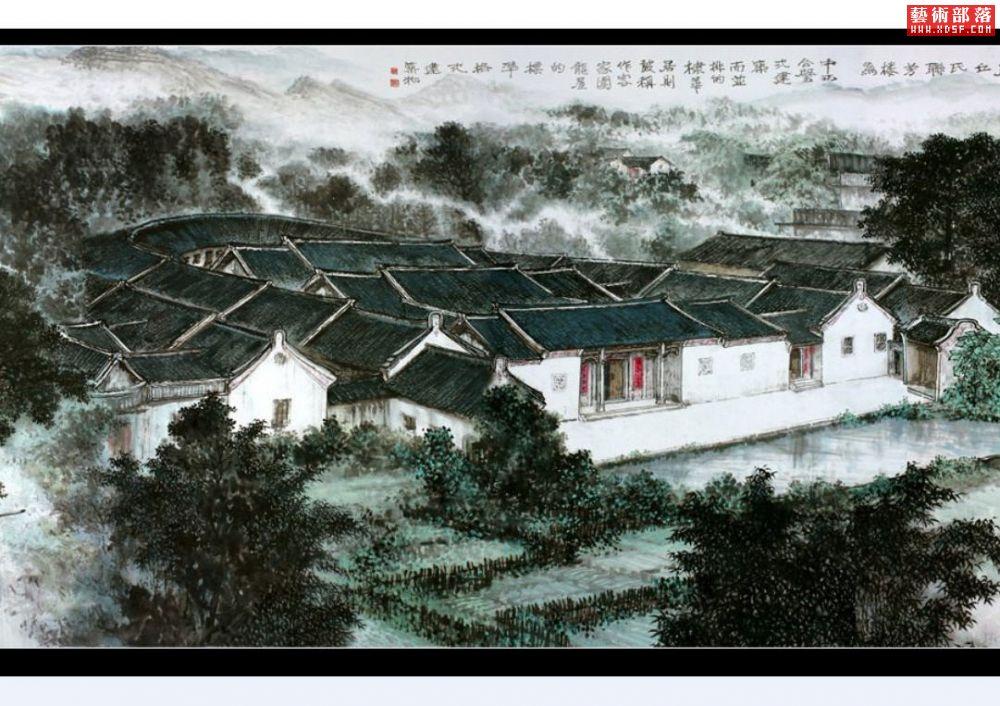 画家熊启雄319米巨型中国山水画长卷《中国客家村居图
