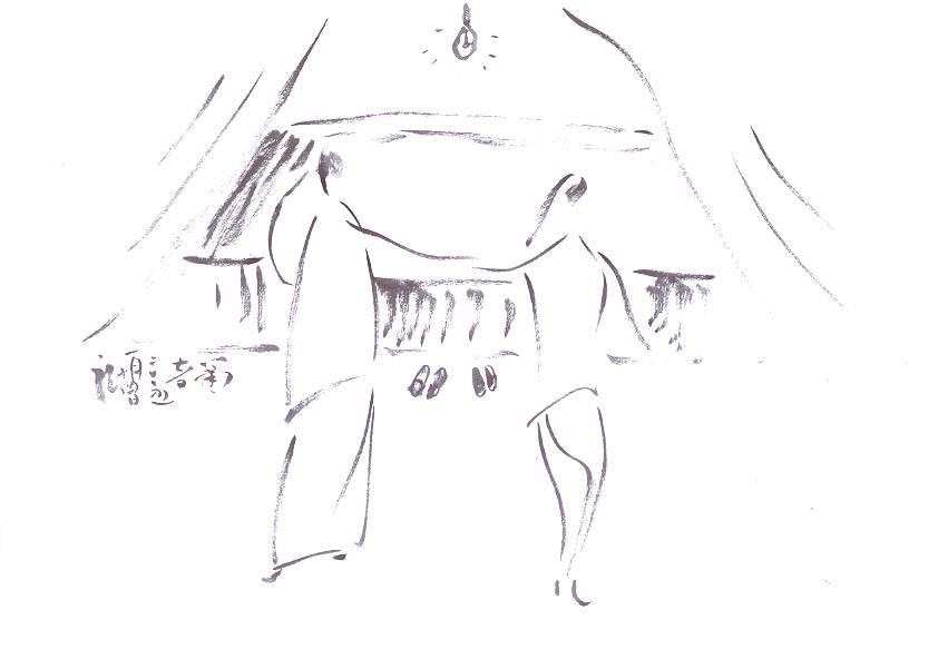 手绘古装洞房图片